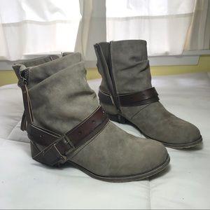 Brown Zip-Up Booties with Buckles